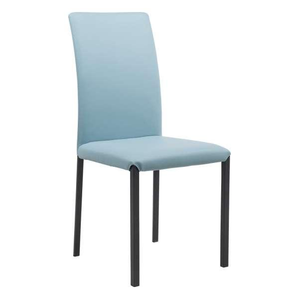 Chaise de salle à manger contemporaine en vinyle et métal - Marion H - 1