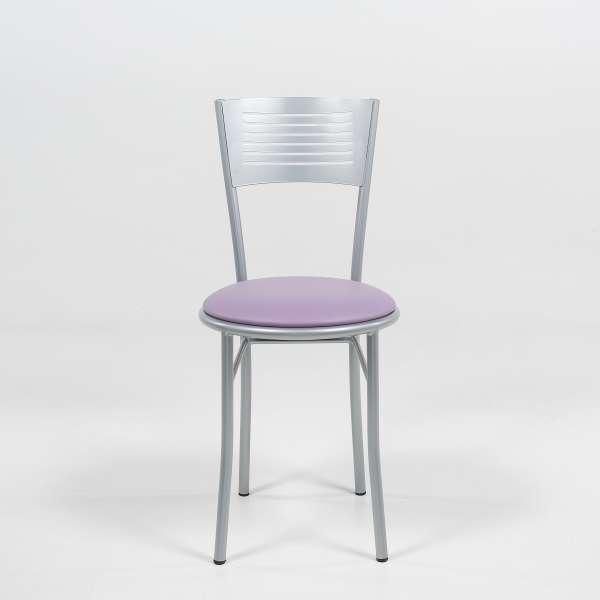 Chaise de cuisine rétro mauve et satiné - Carol - 2