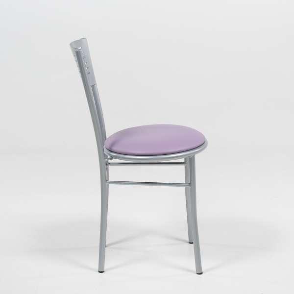 Chaise de cuisine rétro en métal violet et satiné - Carol - 3
