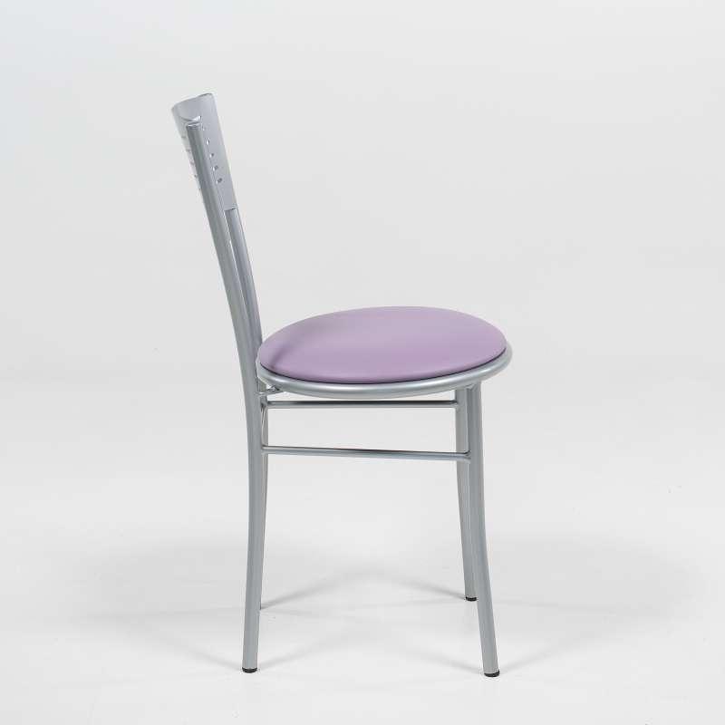 ... Chaise De Cuisine Rétro En Métal Violet Et Satiné   Carol   3 ...