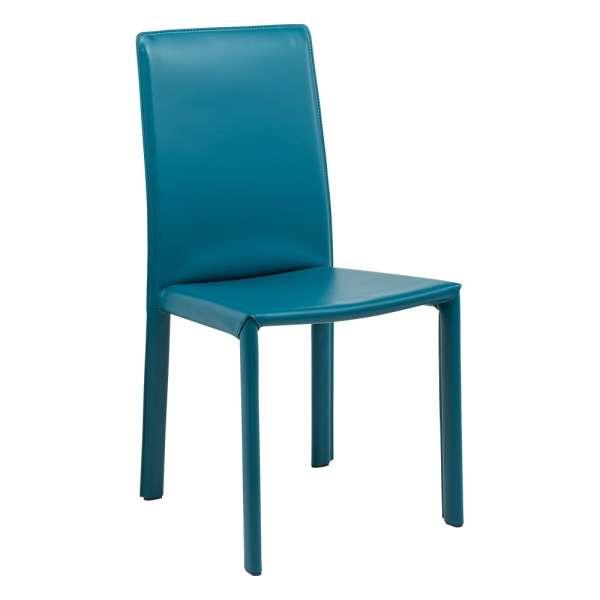 Chaise de salle à manger en croûte de cuir - Elisa A - 1