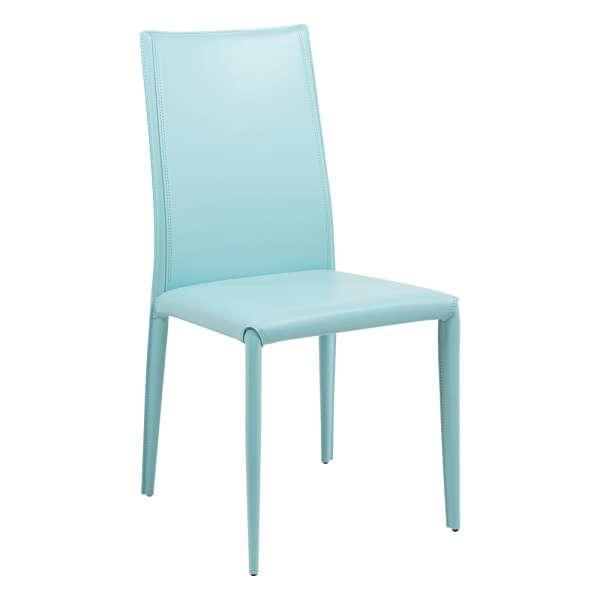 Chaise contemporaine en croûte de cuir - Kesha  - 1