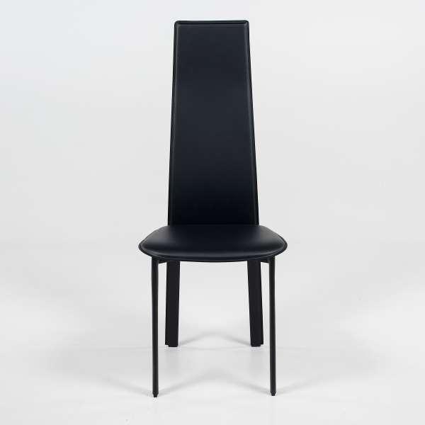 Chaise de salle à manger contemporaine en croûte de cuir - Chris - 2