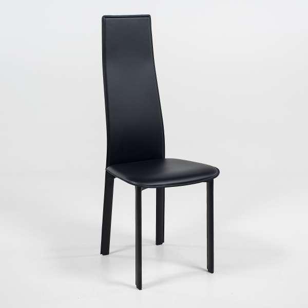 Chaise de séjour contemporaine en croûte de cuir - Chris - 1