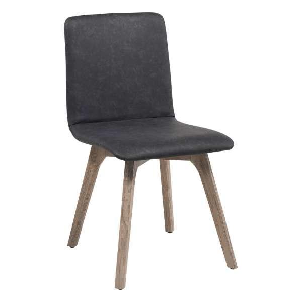 Chaise de séjour scandinave en synthétique et bois - Plaza 2 - 1