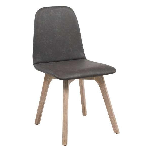 Chaise de salle à manger scandinave en synthétique et bois - Pandora - 1
