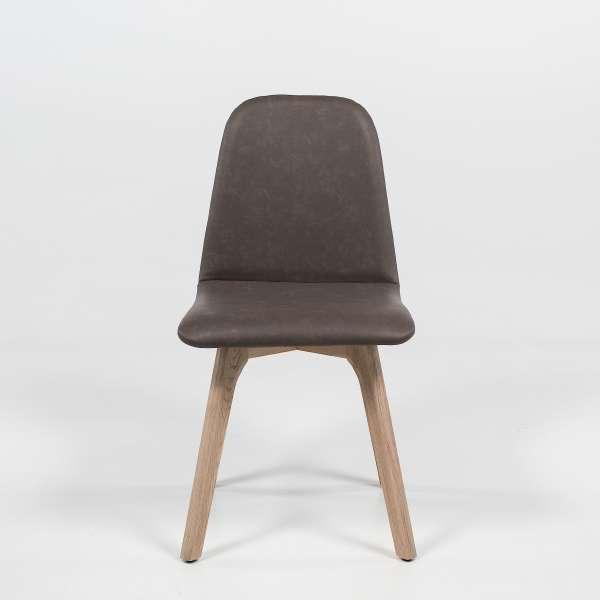 Chaise de salle à manger moderne matelassée en synthétique et bois - Pandora 2 - 2