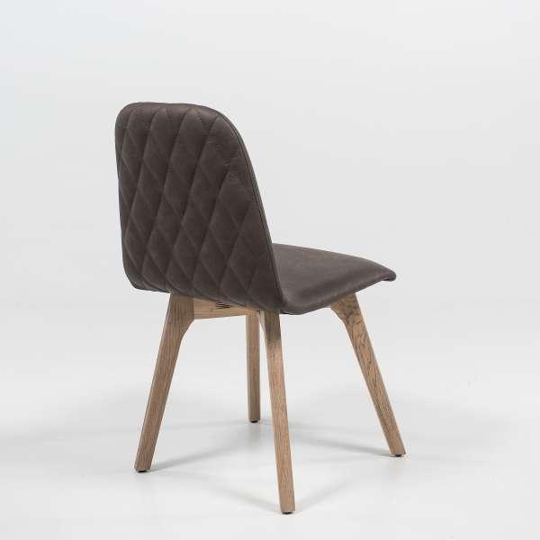 Chaise de salle à manger matelassée en synthétique et bois - Pandora 2 - 4