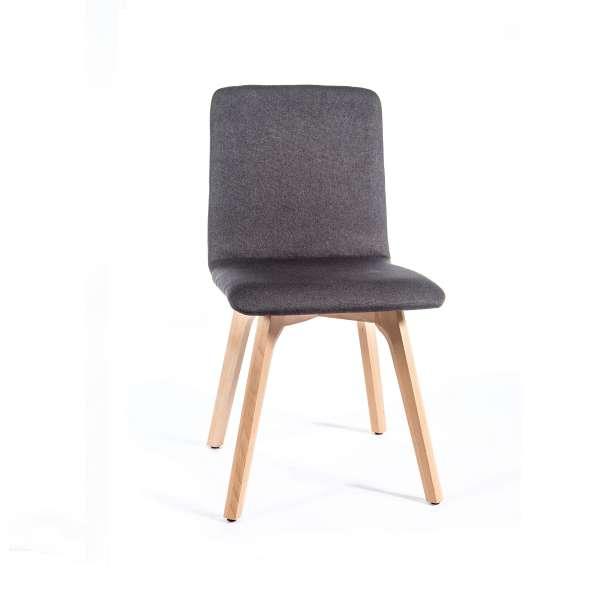 Chaise de salle à manger moderne en tissu et bois - Plaza - 1