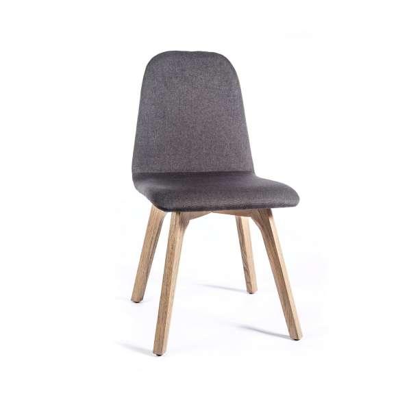 Chaise de salle à manger moderne en tissu et bois - Pandora - 2