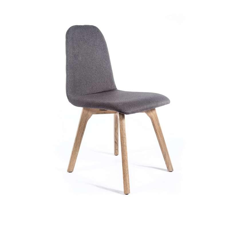 Chaise de salle à manger moderne en tissu et bois Pandora