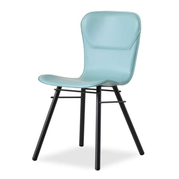 Chaise rétro design en croûte de cuir et métal - Avenue 2 - 2