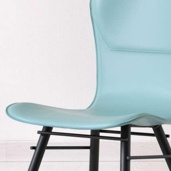Chaise rétro design en croûte de cuir et métal - Avenue 4 - 4