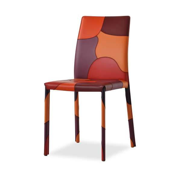 Chaise de séjour en croûte de cuir - Patchwork - 1