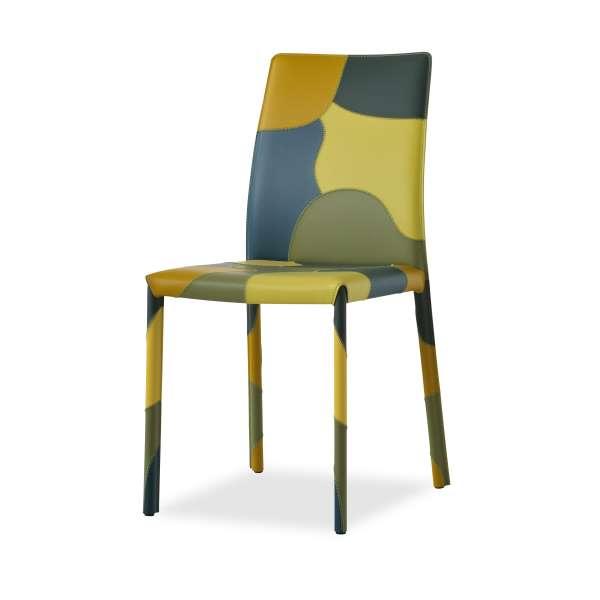 Chaise de salle à manger en croûte de cuir - Patchwork - 2