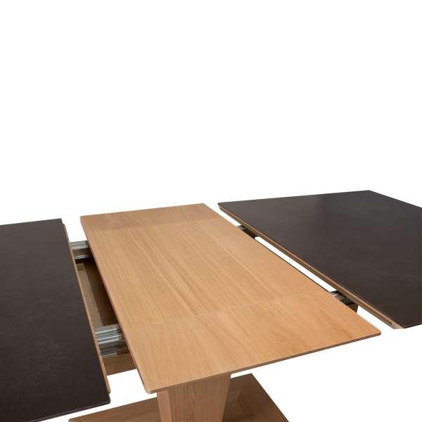 Table rectangulaire pied central extensible en céramique et bois - Philae - 3