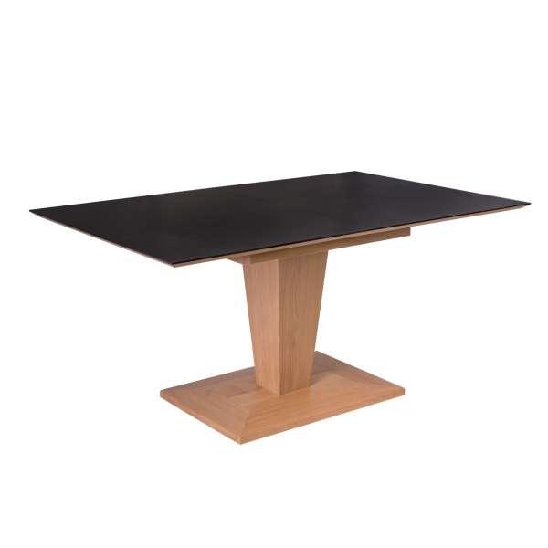 Table extensible pied central en céramique et bois massif - Philae - 2