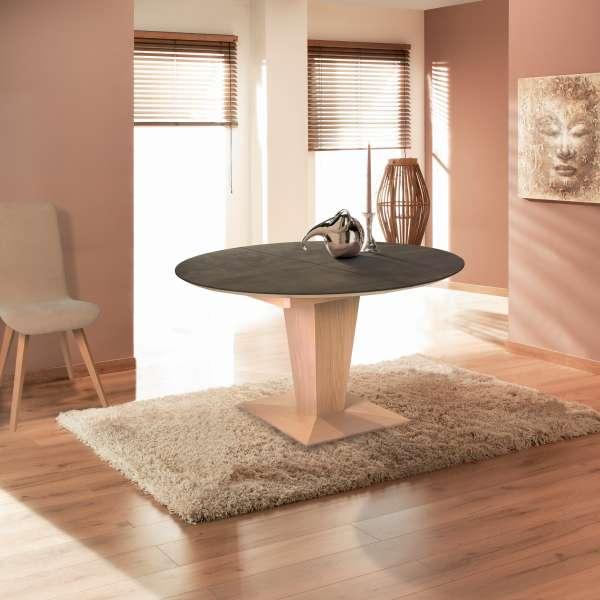 Table ronde moderne extensible en céramique et bois - Philae - 1