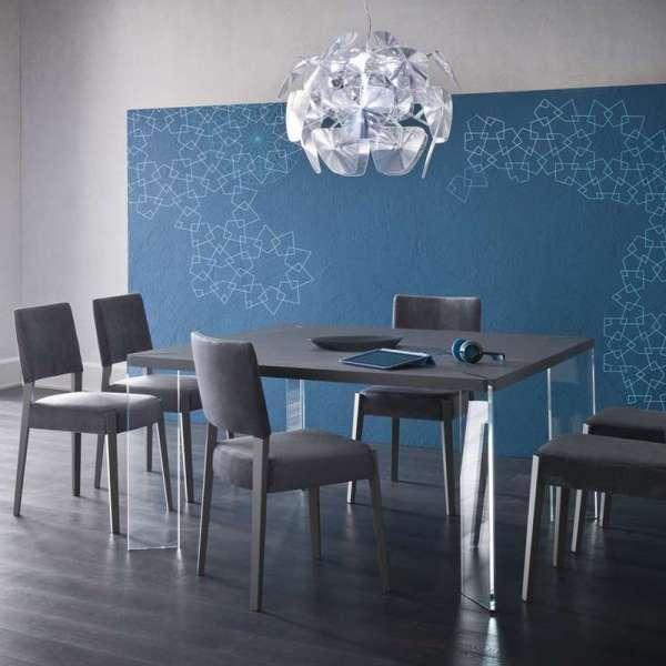 Table carrée design en ecomalta et verre - Concrete 2 - 2