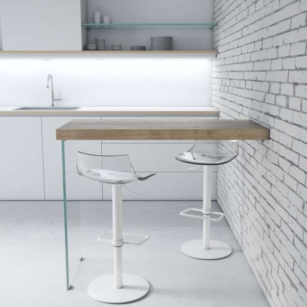 Table snack murale en stratifié et verre - Fix - 1