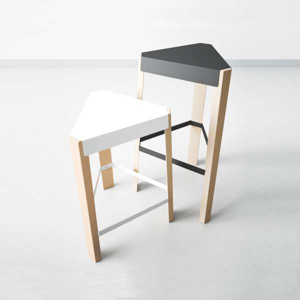 Tabouret snack design sans dossier en métal et bois - Podio - 1
