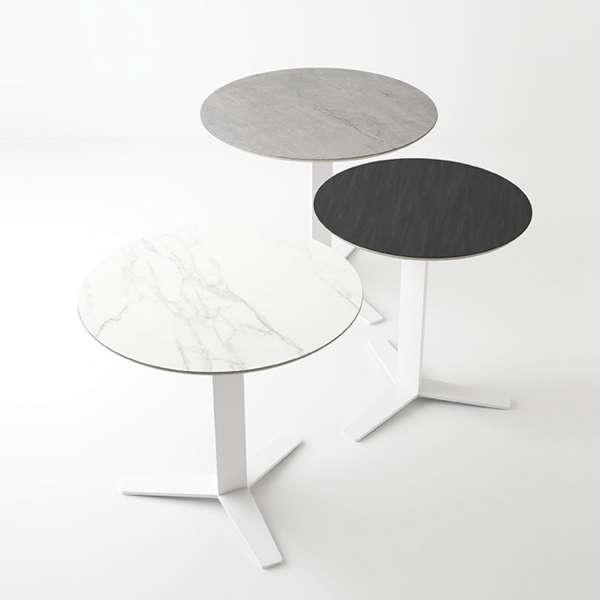 Table ronde petit espace en céramique et métal - Peliccan - 1
