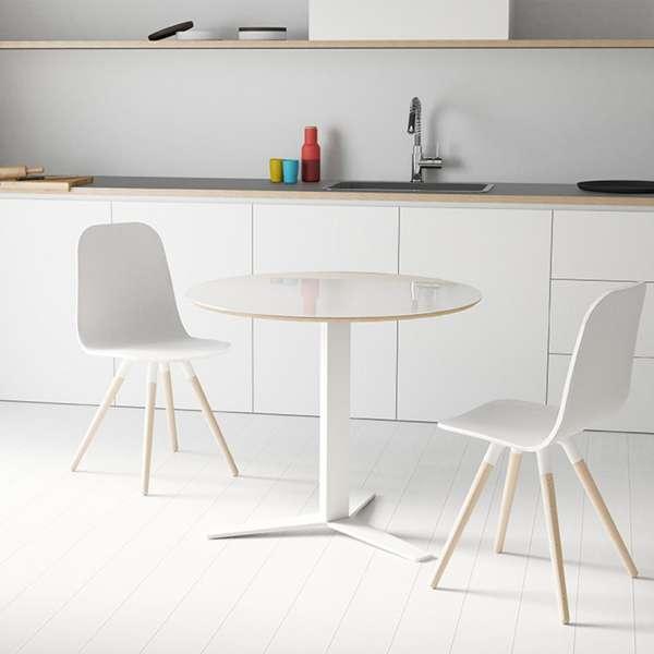 Table ronde petit espace en verre blanc et métal - Peliccan - 1