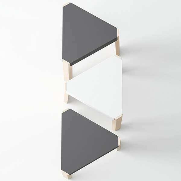 Tabouret bas triangulaire en métal et bois - Podio 6 - 6