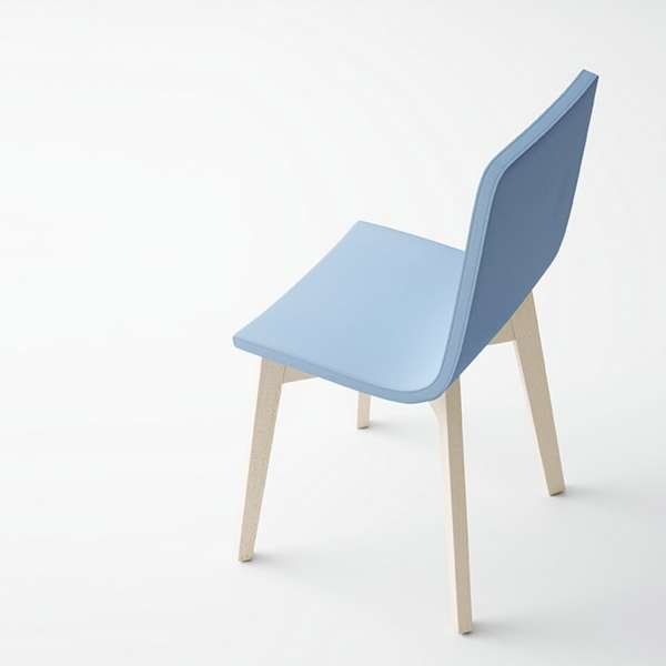 Chaise design en bois et tissu PVC - Eclipse confort - 10