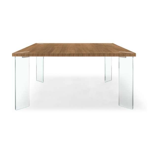 Table carrée design en bois et verre - Concrete - 1