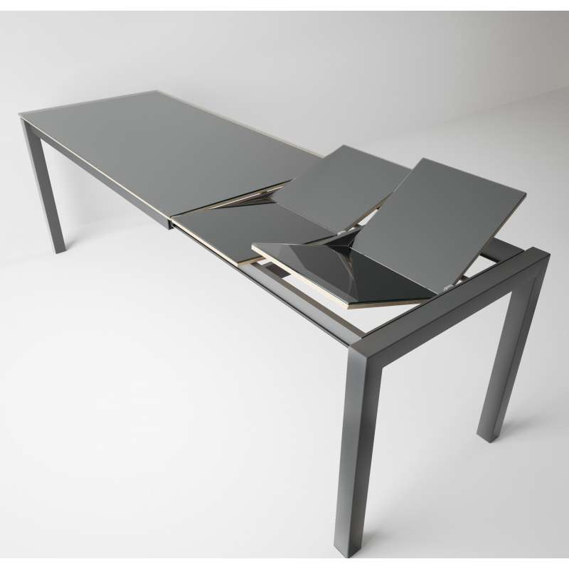 Table Snack Moderne Extensible En Verre Et Metal Coma Bar 4