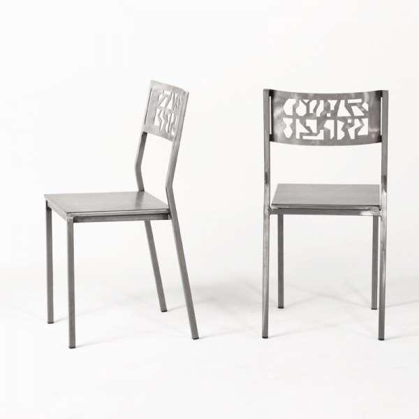 Chaise de cuisine industrielle en métal brossé - Slide - 5