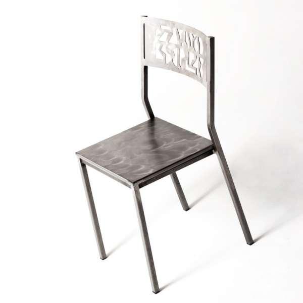 Chaise de cuisine en métal brossé - Slide - 7