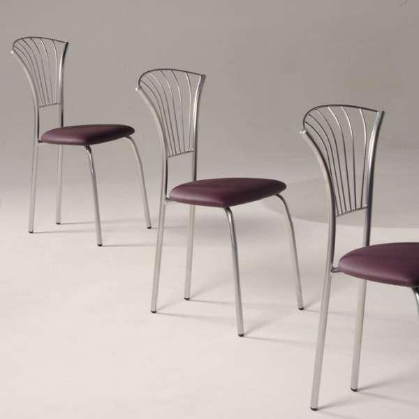 Chaise de cuisine en vinyle mauve et métal chromé - Solandre - 4