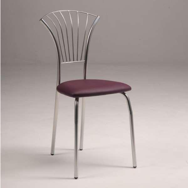 Chaise de cuisine en vinyle violet et métal chromé - Solandre - 3