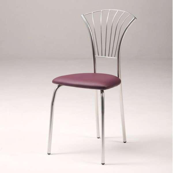 Chaise en vinyle mauve et métal chromé - Solandre - 6