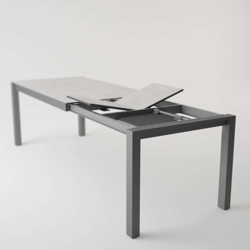 Table moderne en c ramique extensible quadra 4 - Table salle a manger plateau ceramique ...
