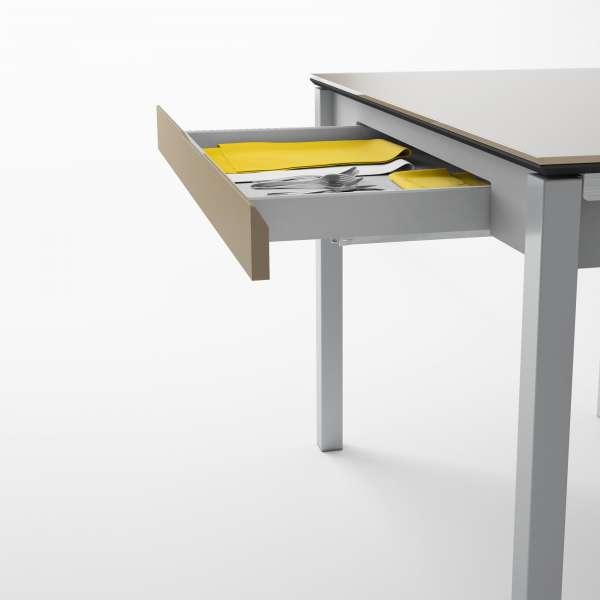Table de cuisine en verre extensible avec tiroir - Camel 7 - 8