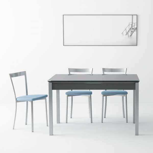 Table de cuisine en verre extensible avec tiroir - Camel - 2
