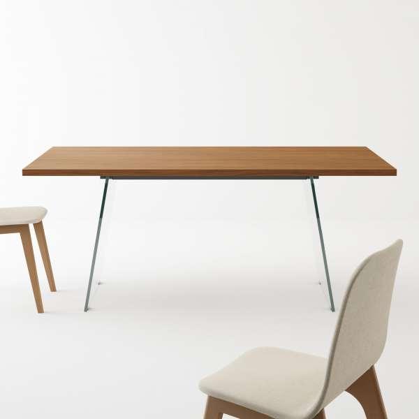 Table design en stratifié avec pieds en verre - Domo  - 1