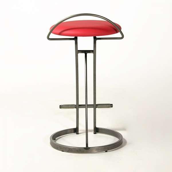 Tabouret moderne sans dossier en vinyle rouge et acier- Café - 4