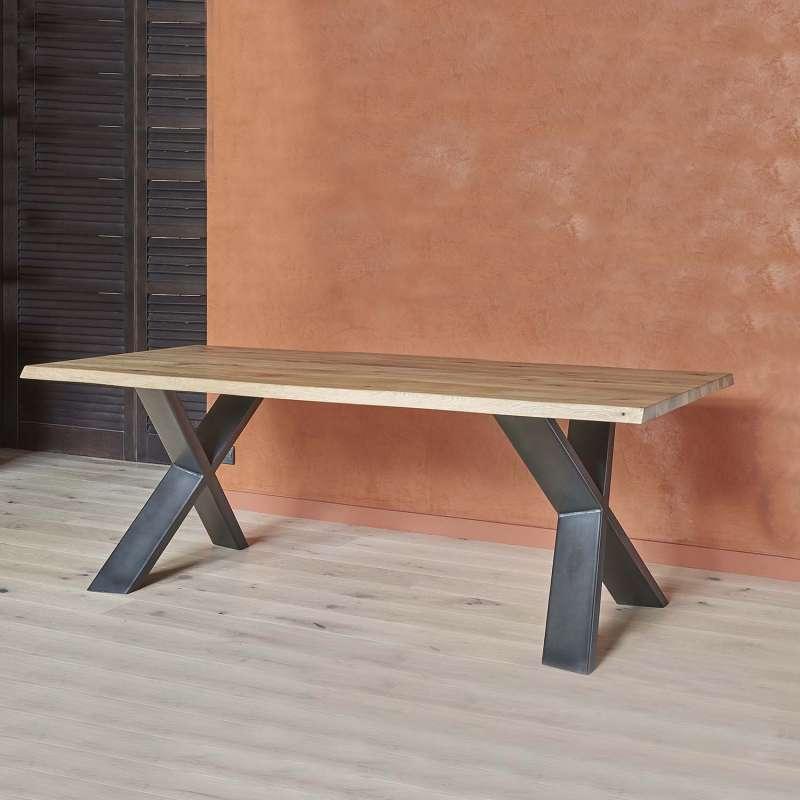 Table extensible rectangulaire en ch ne massif et m tal - Table salle a manger acier ...