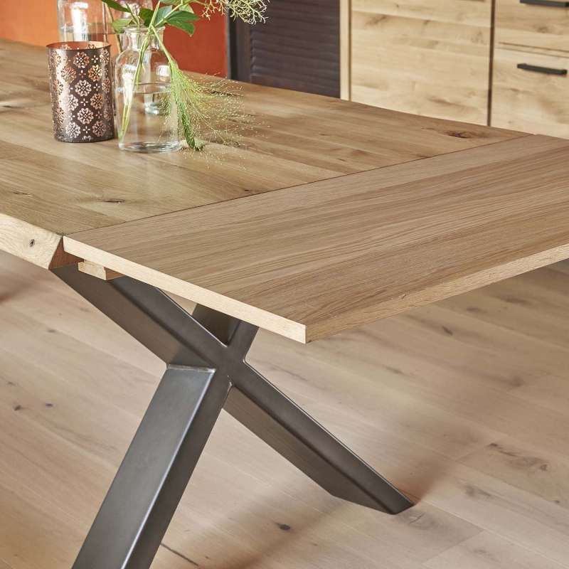 Table De Salle A Manger Moderne Extensible En Chene Massif Et Metal Pieds En X Forest