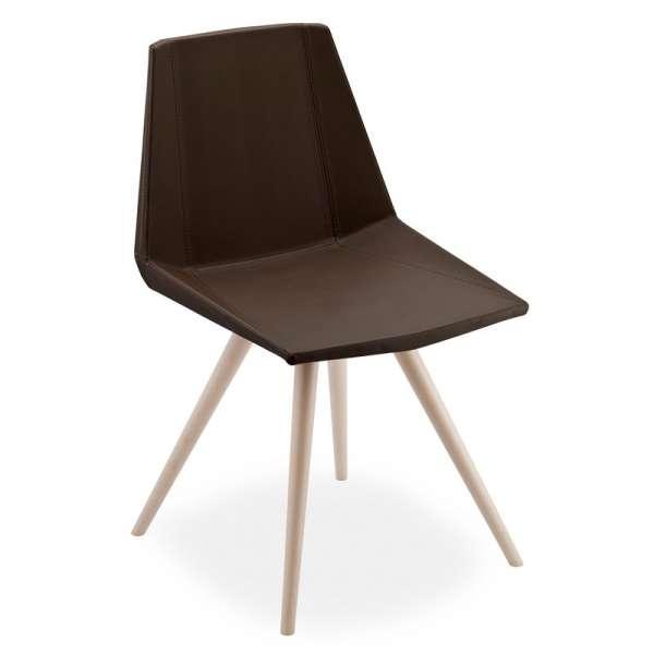 Chaise design en synthétique et bois - Glim 1161 - 1
