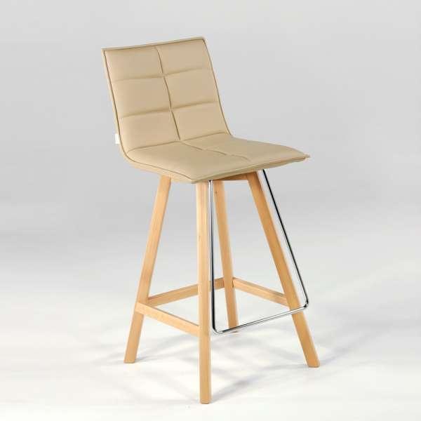 Tabouret design en bois et synthétique - Iris - 2