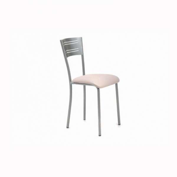 Chaise de cuisine contemporaine en synthétique rose et métal satiné - Hera - 1