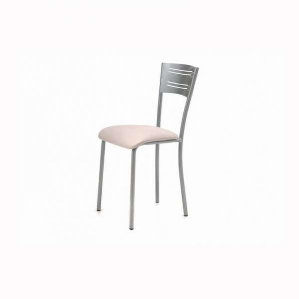 Chaise de cuisine contemporaine en vinyle rose et métal satiné - Hera - 2