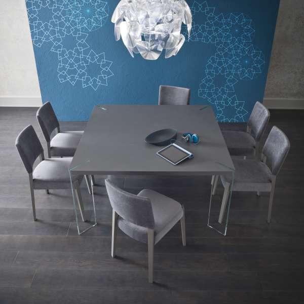 Table carrée design en ecomalta et verre - Concrete - 1