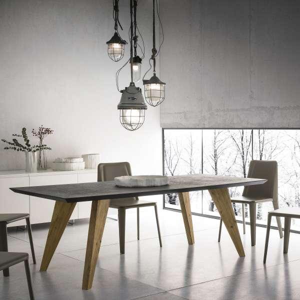 Table design rectangulaire en ecomalta et bois - Raw - 1