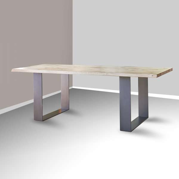 Table rectangulaire industrielle extensible en chêne massif pieds traîneau - Carte - 1